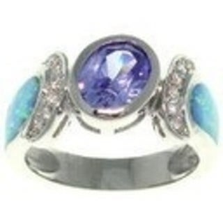 Sterling Silver Created Opal and Cubic Zirconia Dramatic Style Ring