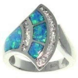 Sterling Silver Created Opal and Cubic Zirconia Stylish Fan Ring