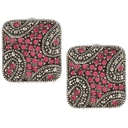 MARC Sterling Silver Pink Crystal and Marcasite Square Earrings