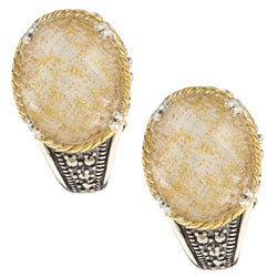 MARC 14K Yellow Gold Flashing Edge over Sterling Silver Crystal Gold Leaf Mother of Pearl Doublet and Marcasite Earrings