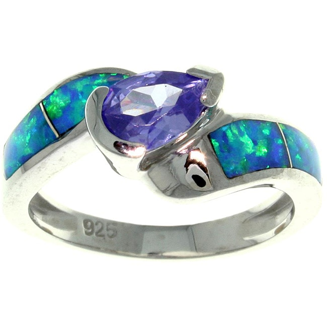 Carolina Glamour Collection Silver Purple Cubic Zirconia and Created Opal Radiating Beauty Ring - Thumbnail 0