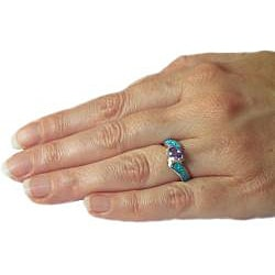 Carolina Glamour Collection Silver Purple Cubic Zirconia and Created Opal Radiating Beauty Ring - Thumbnail 2