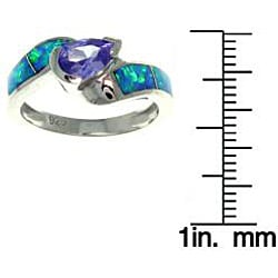 Carolina Glamour Collection Silver Purple Cubic Zirconia and Created Opal Radiating Beauty Ring - Thumbnail 1