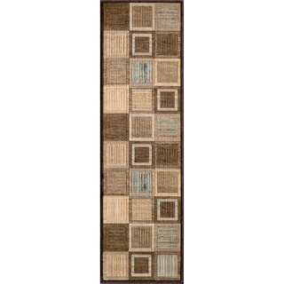 Illusion Power-loomed Brown Blocks Rug (2'3 x 7'6)