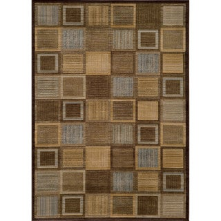 Illusion Power-loomed Brown Blocks Rug (3'11 x 5'7)