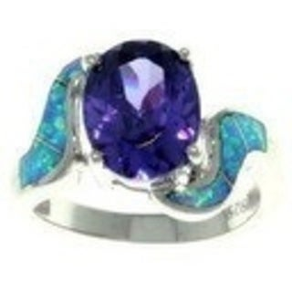 Sterling Silver Cubic Zirconia and Created Opal Purple Passion Ring