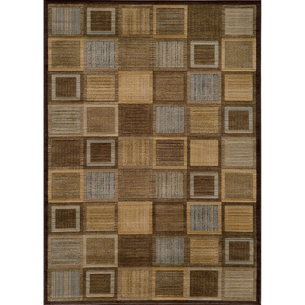 Illusion Power-loomed Brown Blocks Rug (9'3 x 12'6)
