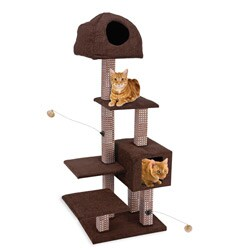 Cat Life Dual Hide-Away, Rubbing Post and Cat Lounge Tower
