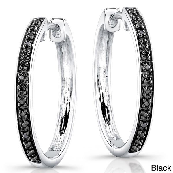 Victoria Kay Sterling Silver 1/8ct TDW Diamond Hoop Earrings