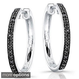 Victoria Kay Sterling Silver 1/8ct TDW Diamond Hoop Earrings