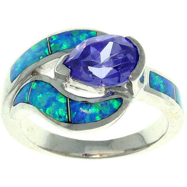 Carolina Glamour Collection Sterling Silver Cubic Zirconia and Created Opal Teardrop Embrace Ring