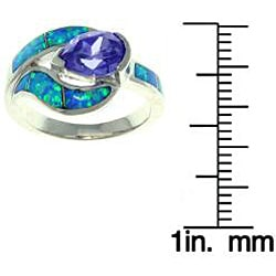 Carolina Glamour Collection Sterling Silver Cubic Zirconia and Created Opal Teardrop Embrace Ring - Thumbnail 1