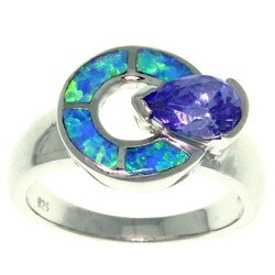 Carolina Glamour Collection Sterling Silver Cubic Zirconia and Created Opal Mystic Dial Ring