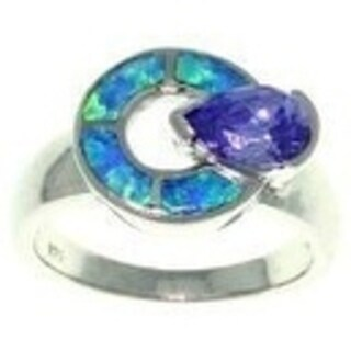 Sterling Silver Cubic Zirconia and Created Opal Mystic Dial Ring