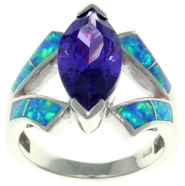 Carolina Glamour Collection Sterling Silver Cubic Zirconia and Created Opal Marquise Design Ring
