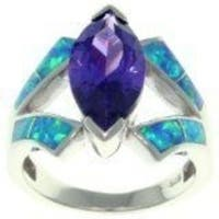 Sterling Silver Cubic Zirconia and Created Opal Marquise Design Ring