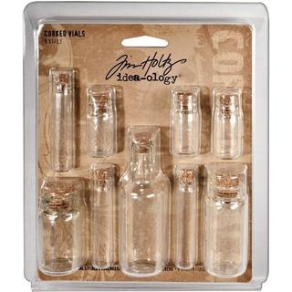 Tim Holtz Idea-Ology Corked Glass Vials (Pack of 9)