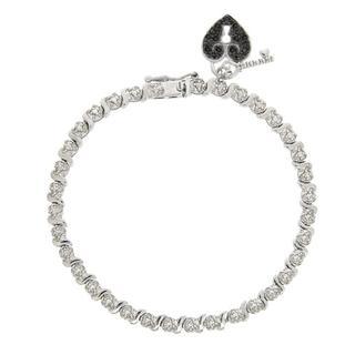 DB Designs Sterling Silver 1/10ct TDW Black Diamond Heart and Key Bracelet