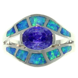 Carolina Glamour Collection Sterling Silver Cubic Zirconia and Created Opal Exotic Shape Ring
