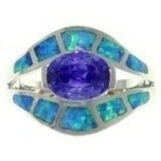 Sterling Silver Cubic Zirconia and Created Opal Exotic Shape Ring