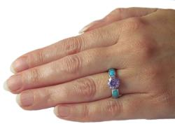Carolina Glamour Collection Sterling Silver Cubic Zirconia and Created Opal Sparkling Sphere Ring - Thumbnail 2