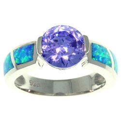 Carolina Glamour Collection Sterling Silver Cubic Zirconia and Created Opal Sparkling Sphere Ring