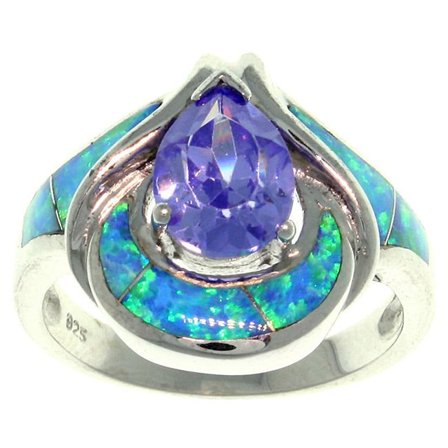 Carolina Glamour Collection Sterling Silver Cubic Zirconia and Created Opal Goddess Ring
