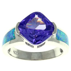 Carolina Glamour Collection Sterling Silver Cubic Zirconia and Created Opal Rock Candy Ring