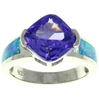 Sterling Silver Cubic Zirconia and Created Opal Rock Candy Ring