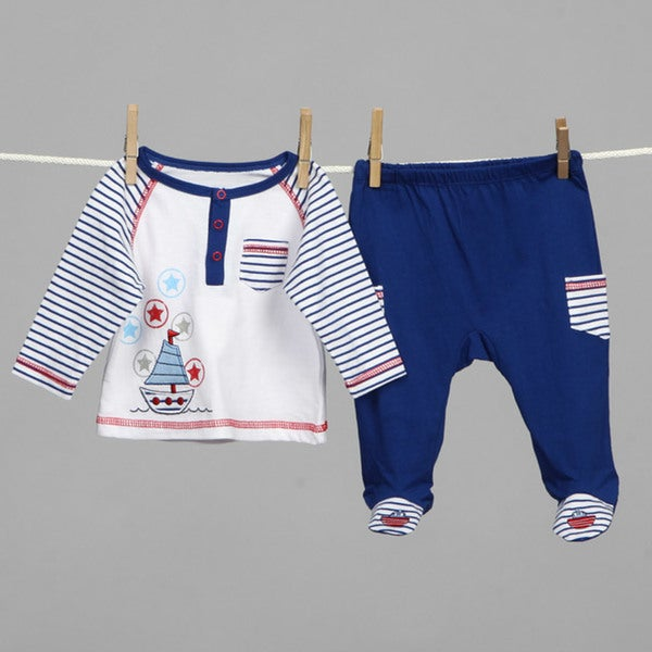 a02cb67f38823 Shop Absorba Newborn Boy s Footed Pants Set - Free Shipping On ...