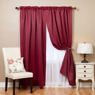 Aurora Home Mix and Match Blackout with Crushed Voile Sheer 4-piece Panel Curtain Set (More options available)