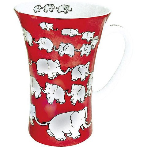 Konitz Chain Of Elephants Red Mega Mugs (Set of 4)