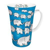 Konitz Chain Of Elephants Blue Mega Mugs (Set of 4)