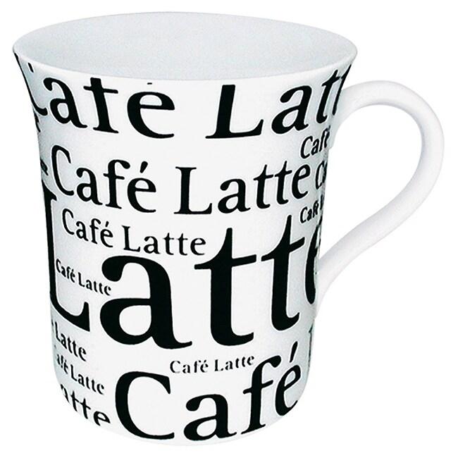 Konitz Mugs 'Cafe Latte Writing' On White (Set of 4)
