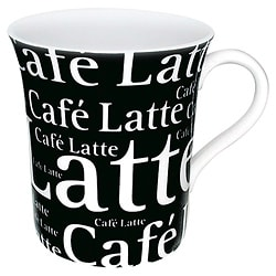 Konitz Mugs 'Cafe Latte Writing' On Black (Set of 4)