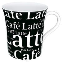 Konitz Mugs 'Cafe Latte Writing' On Black (Set of 4)