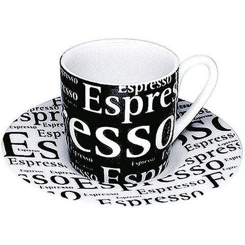 Konitz Espressos 'Writing on Black' Cups and Saucers (Set of 4)