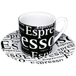Konitz Espressos 'Writing on Black' Cups and Saucers (Set of 4)|https://ak1.ostkcdn.com/images/products/5919001/Konitz-Espressos-Writing-on-Black-Cups-and-Saucers-Set-of-4-P13621520.jpg?impolicy=medium