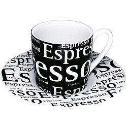 Konitz Espressos 'Writing on Black' Cups and Saucers (Set of 4)