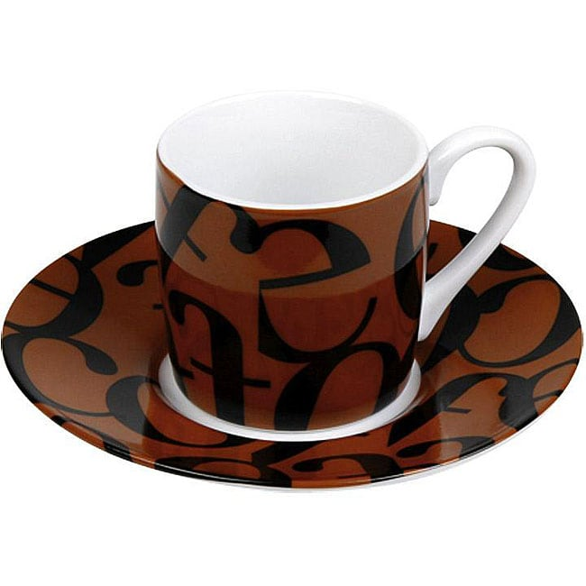 Konitz Espressos Script Collage Black/ Brown Cups and Saucers (Set of 4)