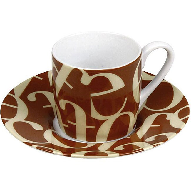 Konitz Espressos Script Collage Beige/ Brown Cups and Saucers (Set of 4)