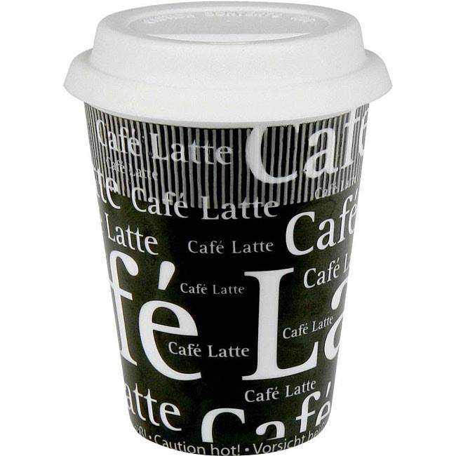 Konitz Cafe Latte Writing On Black Travel Mugs (Set of 4)...