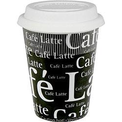 Konitz Cafe Latte Writing On Black Travel Mugs (Set of 4)
