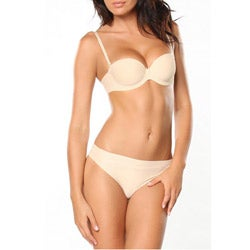 Donna di Capri Women's Cream Microfiber Convertible Bra Set