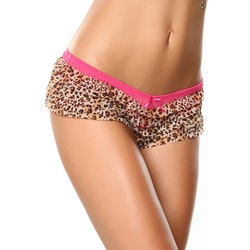 Donna di Capri Panty Party Collection Fuchsia Multi-leopard Ruffle Mesh Boxer