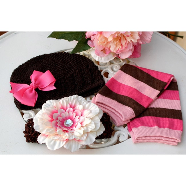 Brown/ Pink 5-piece Baby Accessory Pack