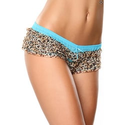 Donna di Capri Panty Party Collection Turquoise Multi-leopard Ruffle Mesh Boxer