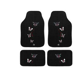 Automotive 4-piece Butterfly Embroidered Floor Mat Set - Thumbnail 1