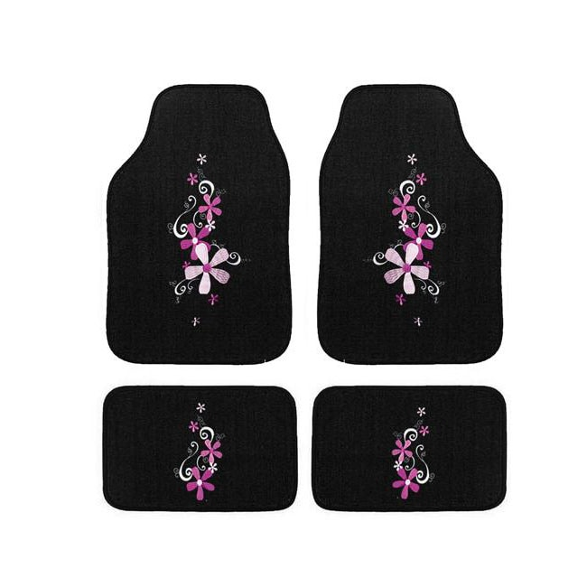 Automotive 4 Piece Daisy Embroidered Floor Mat Set Free