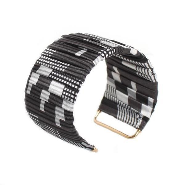 NEXTE Jewelry Goldtone Black and White Fabric Designed Cuff Bracelet